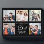 """DAD Custom Family Photo Collage Father's Day Black Plaque<br><div class=""""desc"""">This sweet WE LOVE YOU DAD photo collage plaque will surely brighten the day of the awesome dad in your life. Customize with your own favorite 5 photos and message with year and names. The modern script typography design makes a perfect, elegant gift for Father's Day or a cute Birthday...</div>"""