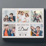 """DAD   Custom Rustic Father's Day Photo Collage Plaque<br><div class=""""desc"""">This sweet WE LOVE YOU DAD photo collage plaque will surely brighten the day of the awesome dad in your life. Customize with your own favorite 5 photos and message with year and names. The modern script typography design on a rustic farmhouse style shiplap wood background makes a perfect, elegant...</div>"""