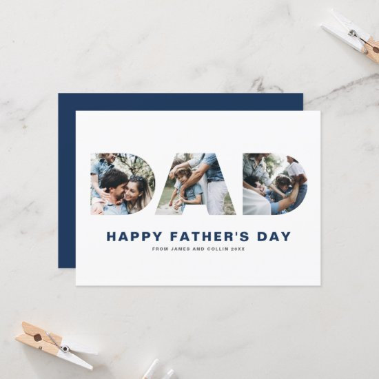 DAD Cutout Photo Collage Happy Father's Day Card