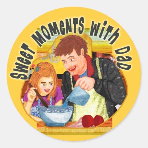 Dad & Daughter Classic Round Sticker