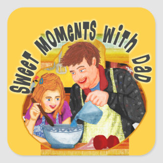 Dad & Daughter Square Sticker