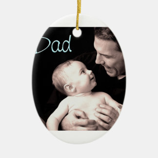 Dad Double-Sided Oval Ceramic Christmas Ornament