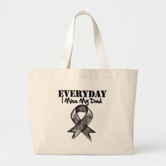 Dad - Everyday I Miss My Hero Military Large Tote Bag
