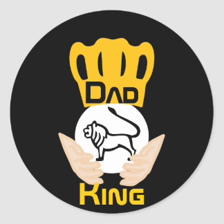 Dad Family Lion King-Customize Classic Round Sticker