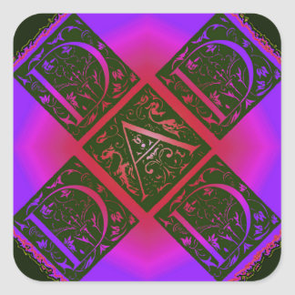 Dad Fancy Text Purple and Blue Square Sticker