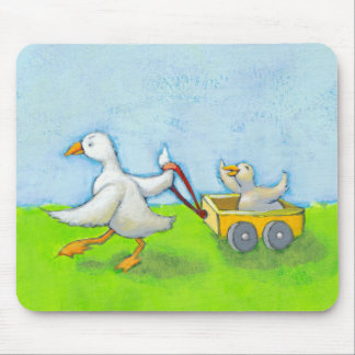 Dad - Father daddy duck baby in wagon cute fun art Mouse Pad