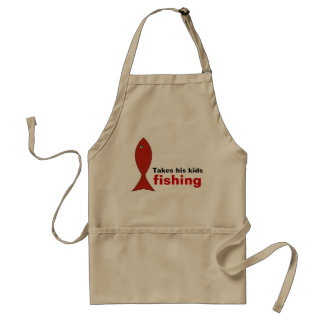 Dad Fishes with Kids Apron