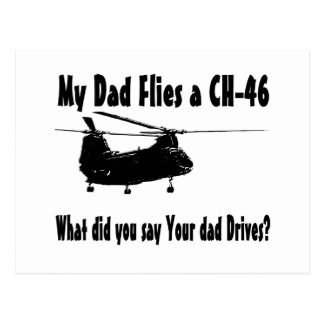 Dad Flies a CH 46 Helicopter Postcard