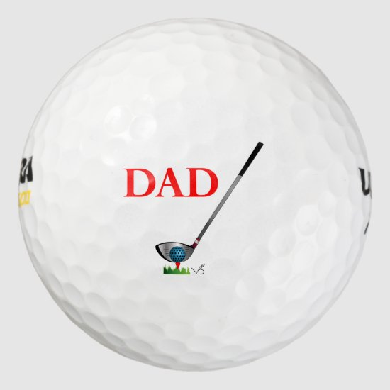 DAD - Golf Happy Fathers Day Birthday Cool Golf Balls