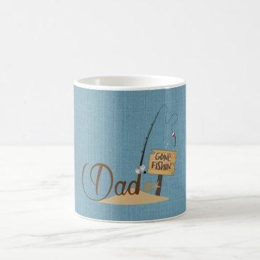 Beach Themed Dad Gone Fishing Coffee Mug