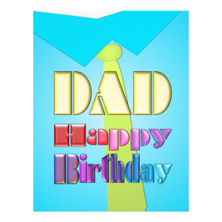 DAD HAPPY BIRTHDAY fun blue shirt & green tie gift Personalized Letterhead