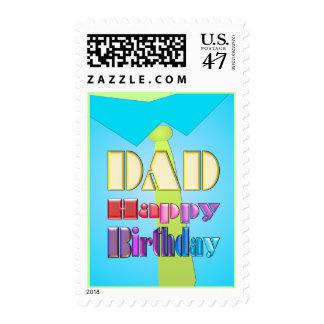 DAD HAPPY BIRTHDAY fun blue shirt & tie post stamp