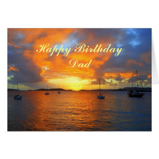 Dad Happy Birthday Sailboats at Golden Sunset Card