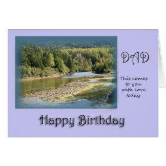 Dad Happy Birthday - salmon fishing river Card