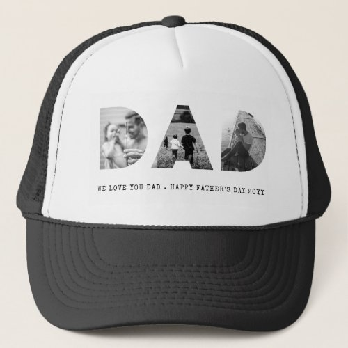 DAD Happy Fathers Day Photo Trucker Hat