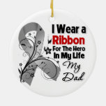 Dad Hero in My Life Brain Cancer Double-Sided Ceramic Round Christmas Ornament