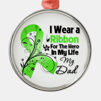 Dad Hero in My Life Lymphoma Ribbon Round Metal Christmas Ornament