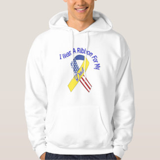 Dad - I Wear A Ribbon Military Patriotic Hooded Sweatshirt