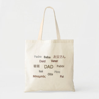 Dad in Many Languages Tote Bag