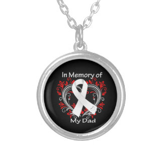 Dad - In Memory Lung Cancer Heart Round Pendant Necklace