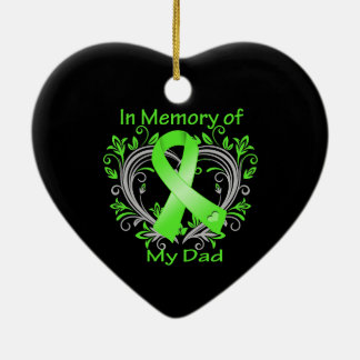 Dad - In Memory Lymphoma Heart Double-Sided Heart Ceramic Christmas Ornament