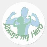 Dad is my hero round stickers