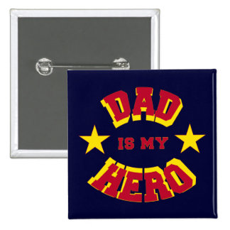 Dad Is My Hero Stars & Superhero Text Button