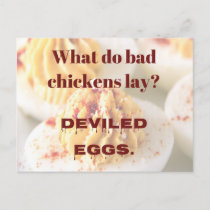 Dad Joke: What do bad chickens lay? Postcard