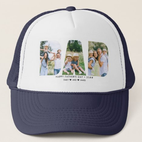 DAD Letter Cutout Photo Collage Father's Day Trucker Hat