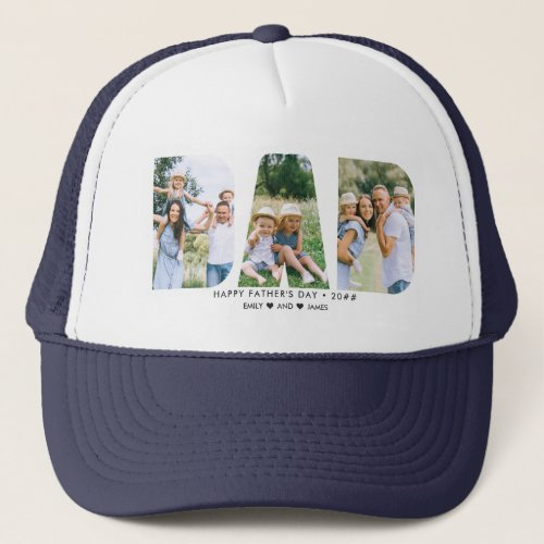 DAD Letter Cutout Photo Collage Fathers Day Trucker Hat