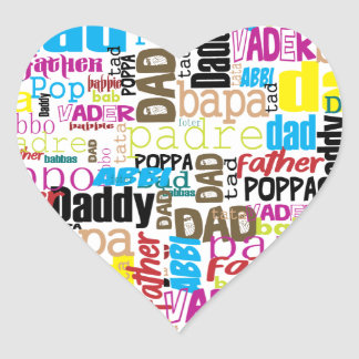 dad love in various language style heart sticker