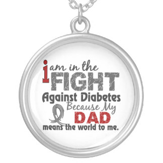 Dad Means World To Me Diabetes Silver Plated Necklace