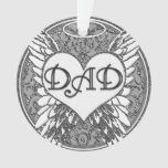 Dad Memorial with Heart and Angel Wings Ornament at Zazzle