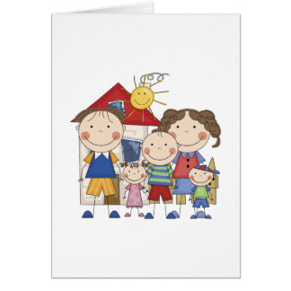 Dad, Mom, Big Boy, Med Girl, Small Boy Family Card