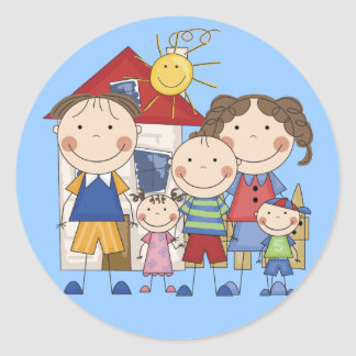 Dad, Mom, Big Boy, Med Girl, Small Boy Family Classic Round Sticker
