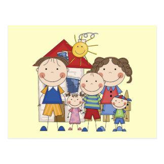 Dad, Mom, Big Boy, Med Girl, Small Boy Family Postcard