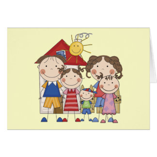 Dad Mom Big Sis Middle Sis Little Brother Greeting Card