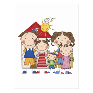 Dad, Mom, Big Sis, Middle Sis, Little Brother Postcard