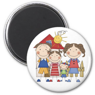 Dad, Mom, Big Sister, Little  Brother Family 2 Inch Round Magnet