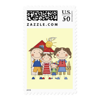 Dad, Mom, Big Sister, Little  Brother Family Postage