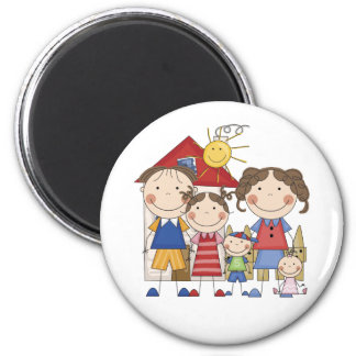 Dad, Mom, Big Sister, Middle Brother, Baby Sis 2 Inch Round Magnet