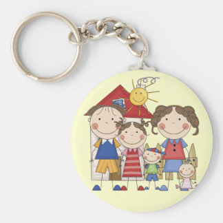 Dad, Mom, Big Sister, Middle Brother, Baby Sis Keychain