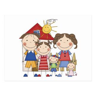 Dad, Mom, Big Sister, Middle Brother, Baby Sis Postcard