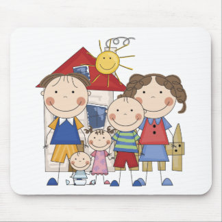 Dad, Mom, Boy, Girl, Baby Boy Family Mouse Pad