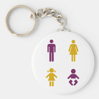 Dad, mom, child, baby keychain