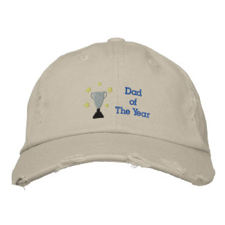 Dad of The Year Embroidered Distressed Hat Templat Embroidered Hat