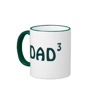 Dad of Three mug: Dad to Third Power Ringer Mug