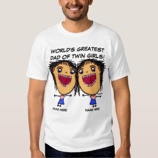 Dad Of Twin Girls Cartoon Shirt