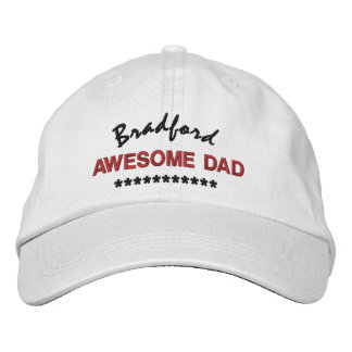 DAD OF YEAR Custom Name RED BLACK Embroidery V01 Embroidered Baseball Caps
