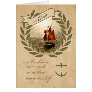 Dad on His Birthday Nautical Sailing Theme Card